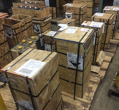 pallets of batteries